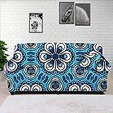 HUGS IDEA Funda de sofá con correa elástica para sofá, elegante y minimalista, color azul mandala, para perros, gatos, niños, para asiento de hasta 70 pulgadas