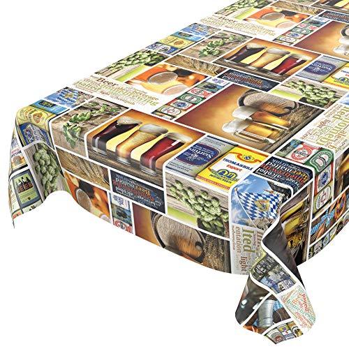 Anro - Mantel de hule lavable, para mesa, 95% PVC, 5% poliéster., Botella para cerveza, 160 x 140cm Schnittkante