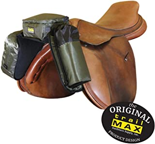 TrailMax Compact English Pommel Pocket Horse Saddlebag with Water Bottle Sleeve for Trail Riding, Works with English, Endurance & Australian Saddles, Available in Black, Pewter Gray & Sage Green