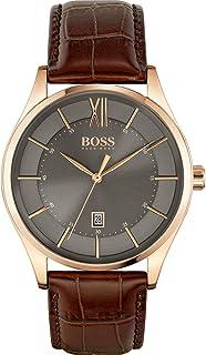 ساعة كوارتز بنظام عرض انالوج وسوار جلدي للرجال من هوغو بوس - 1513796