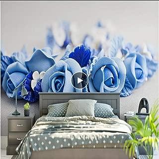 Murals 3D Wallpaper Home Decor Wallpapers Hd Blue Rose Flowers Beautiful Minimalist Modern Nordic Tv Sofa Background Bedroom Wallpaper,120X100Cm