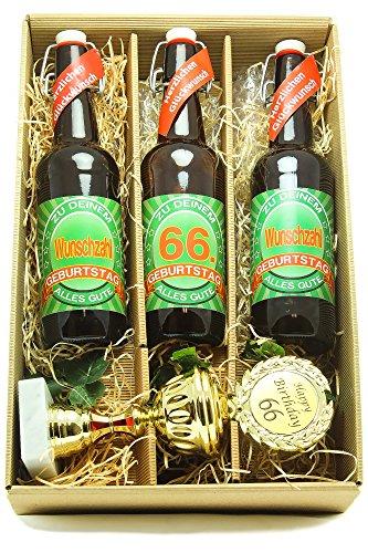 Bier Geschenk Präsentkarton mit Bier und Pokal 66. Geburtstag