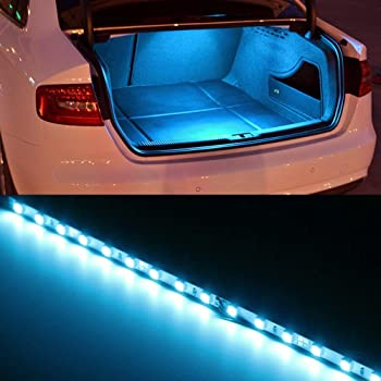 iJDMTOY (1) 18-SMD-5050 LED Strip Light Compatible With Car Trunk Cargo Area or Interior Illumination, Ice Blue