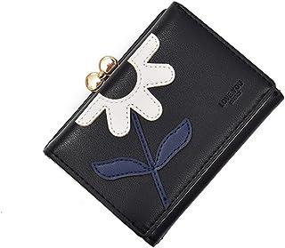 ミニ 財布 レディース 三つ折り かわいい カード入れ 小銭入れ 人気 多機能 大容量 コンパクト 軽量 高級PU 可愛い お花飾り 母の日 プレゼント 花 刺繍 ピンク ブラック グレー ブルー グリーン