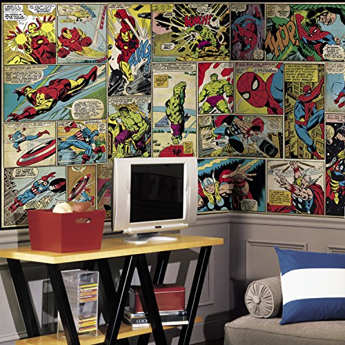 RoomMates JL1398M Marvel Comic Panel Water Activated Removable Wallpaper Mural - 10.5 ft. x 6 ft.