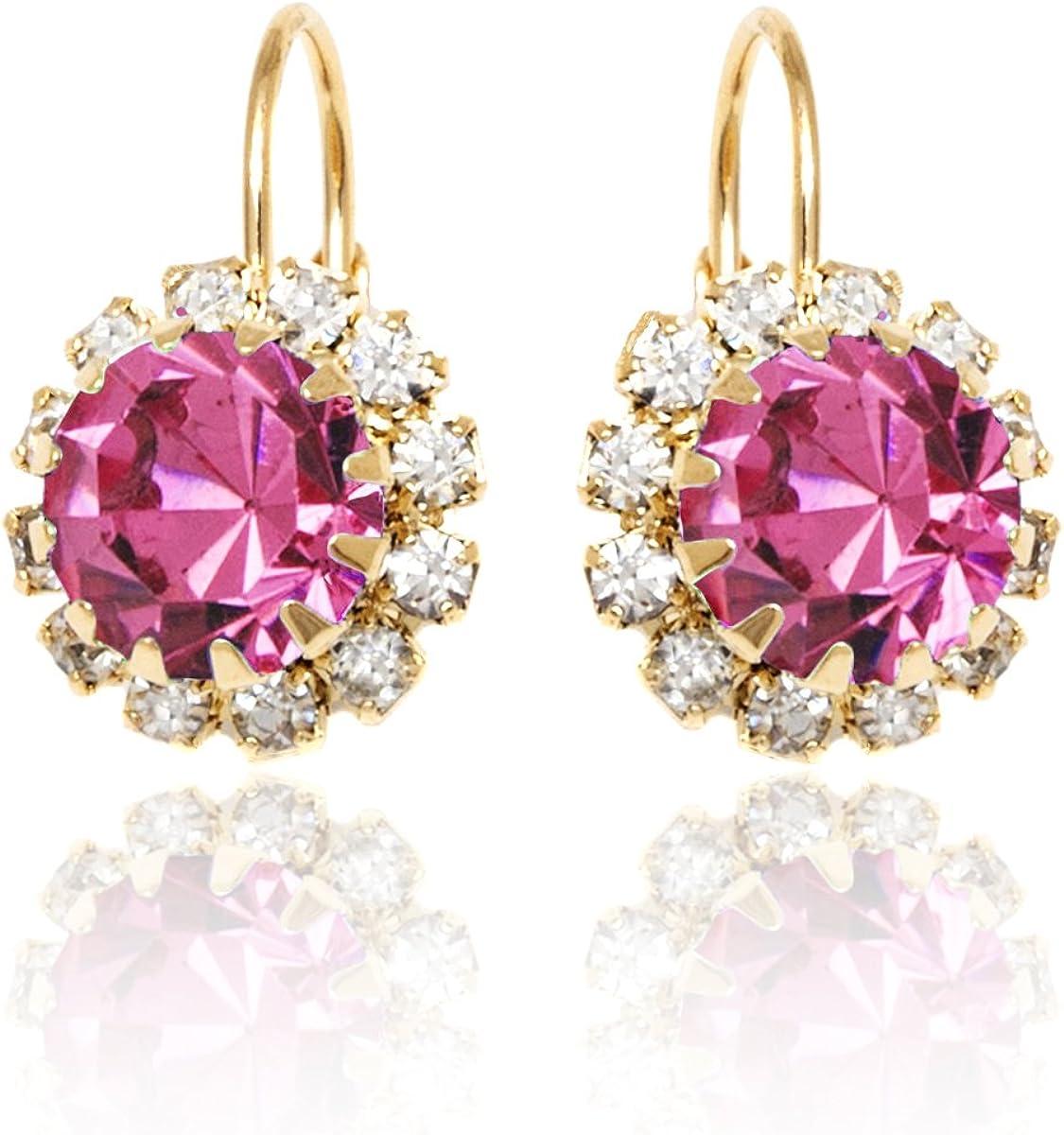 Crystal Flower Earrings For Women | Brazel 18K Gold Plated Crystal Flower Earrings Cubic Zirconia Earrings for Women