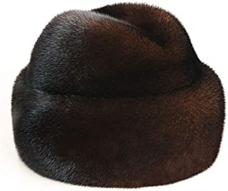 DELORESDKX Mink Fur Hat, Men's Russian Trapper Cossack Winter Warm Hat Ski Cap