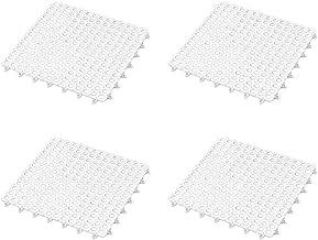 Vosarea 4PCS Square Non Slip Bath Mat Waterproof Interlocking Floor Mat Shower Safety Mats for Bathroom Kitchen (White)