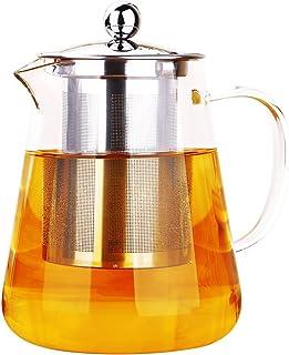 oneisall dgybl018750ml cristal de borosilicato resistente al calor tetera con infusor de acero inoxidable para hojas de té sueltas infusor de té olla de té Flor,