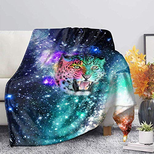 ZGZZD Sofa Throw Blankets,Winter Soft Warm 3D Print Sofa Throw Blanket Chic Colorful Starry Leopard Animal Printed King Size Fluffy Blanket For Bed Couch Camping Travel,110X140Cm