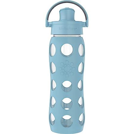 Lifefactory 22-Ounce Active Flip Cap Glass Water Bottle, 22oz, Denim