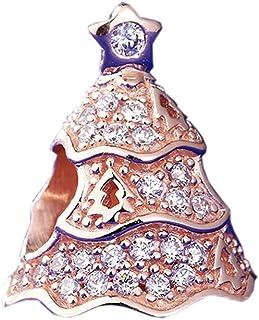 chicbuy Otoño Rosa parpadeante perlas de árbol de Navidad DIY para para Original Pandora pulseras 925plata encanto moda joyería