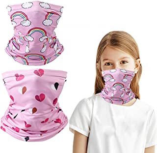 2 Pcs Kids Cooling Neck Gaiter 12+ Ways To Wears, Face Mask, Cools when Wet,Non-Slip Breathable Skin-Friendly Face Cover M...