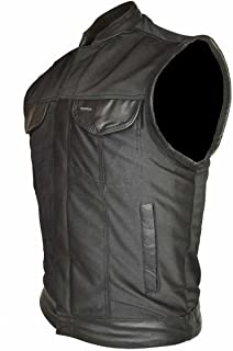 Men's Motorcycle Riding Light Weight Textile Patch Holder Leather Trim Vest