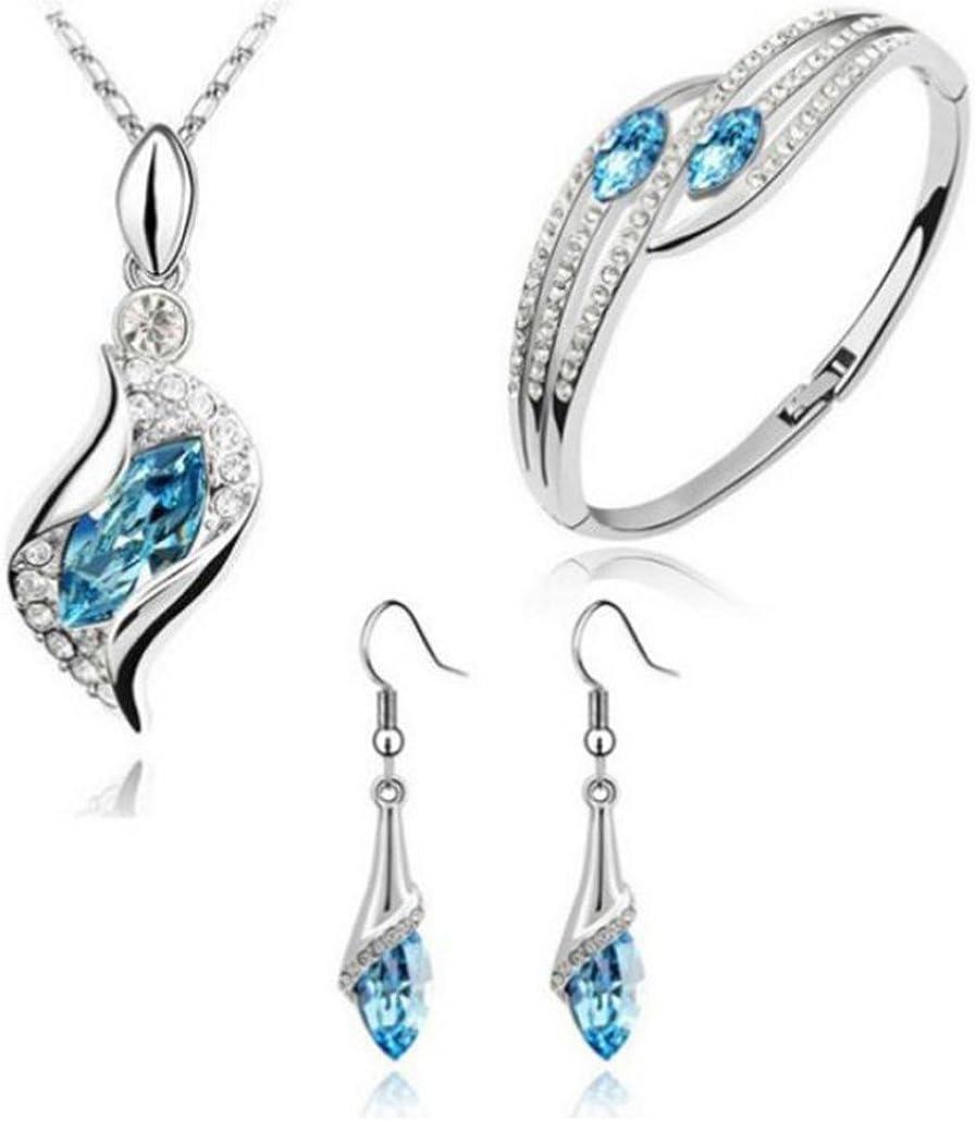 Wensltd Clearance! 3pcs Fashion Jewelry Set Crystal Chic Eyes Drop Earrings Necklace Bracelet DIY