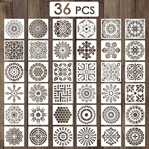 Outivity 36 Stück 15cm x 15cm Mandala Schablonen zum Malen auf Holz, Stein, Stoffen,Metall,Möbeln und Wänden - Flexibel und Wiederverwendbar