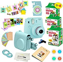 Fujifilm Instax Mini 9 Instant Camera ICE Blue w/Fujifilm Instax Mini 9 Instant Films (60 Pack) + A14 Pc Deluxe Bundle for Fujifilm Instax Mini 9 Camera