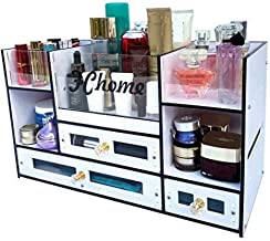 FChome Cosmetic Storage Boxes with Drawers,Acrylic and PVC Jewelry Cosmetic Display Cases Makeup Organizer Set (A)