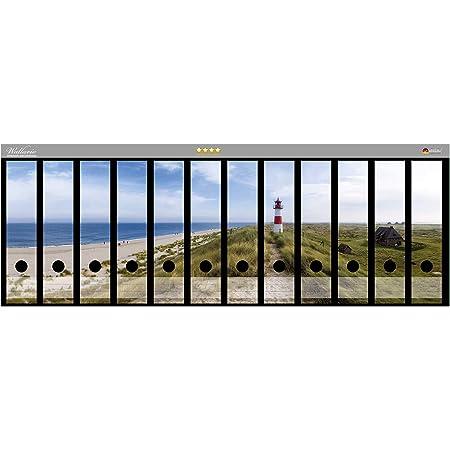 Gr/ö/ße 8 x 3,5 x 30 cm passend f/ür 8 schmale Ordnerr/ücken Wallario Ordnerr/ücken Sticker Fliegende M/öwe am Strand in Premiumqualit/ät
