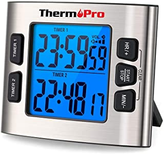 ThermoPro TM02 Digital Kitchen Timer with Dual Countdown Stop Watches Timer/Magnetic..