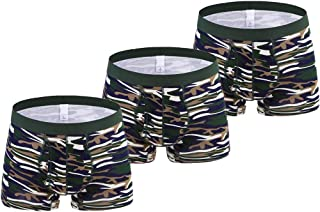Aiweijia 2020 New Mens Underwears 6XL Tall Camo Boxer High Elastic Open Fly Cotton Casual Briefs Pack of 3