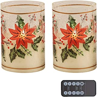 """Red Crackle Glass Led Candles Set of 2 (D4""""x H6"""") Real Wax Pillar Flameless Candles in Christmas Poinsettia Glass Holder, Flameless LED Candle Battery Operated with timer for Home Decor, table lantern"""