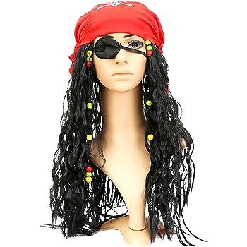 KIRALOVE Pirata del Caribe - Jack Sparrow - Peluca - Bandana ...