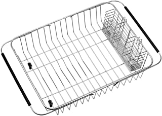 SANNO Dish Drying Rack with Utensil Holder Stainless Steel Large Dish Drainer Drain Expandable Shelf Dish Rack in Sink or ...