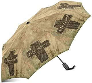 INTERESTPRINT Christian Religious Bible Verse The Lord is My Rock Religious Windproof Automatic Folding Travel Umbrella, Lightweight Compact Auto Open and Close Umbrella with UV Protection
