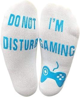 Do Not Disturb I'm Gaming Señoras de los Hombres que hacen punto Calcetines Divertidos de Algodón Calcetines de Punto Grueso