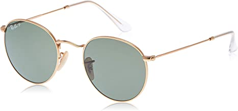 Ray-Ban RB3447 Round Metal Sunglasses, Matte Gold/Polarized Green, 50 mm