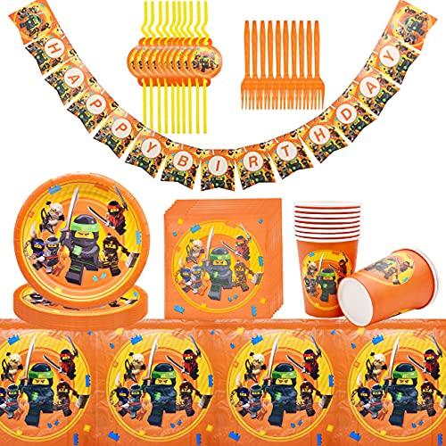Vajilla Diseño de Ninjago Accesorio de Decoración de Fiesta de Cumpleaños Apoyo para Celebración Pancarta Platos Vasos Servilletas y Mantel Resistente, 62pcs
