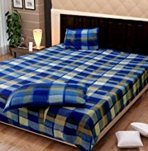 Exotic Home Fleece Double Bed Sheet with 2 Pillow Covers (Blue)