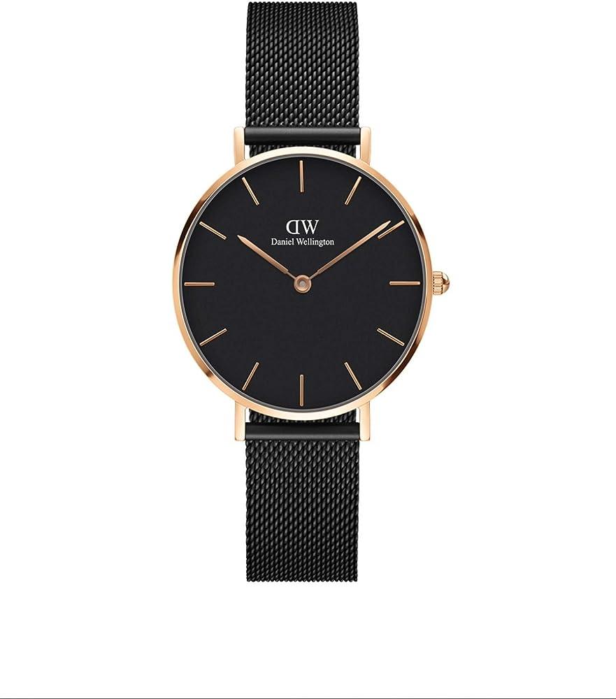 Daniel wellington petite ashfield - orologio da donna, colore: nero/oro rosa in acciaio DW00100201