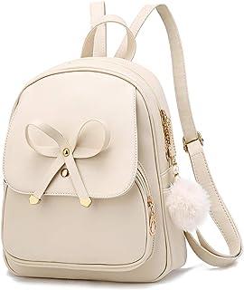 Modischer Rucksack mit Schleife für Mädchen, niedlicher Leder-Rucksack, Mini-Rucksack für Damen, Schulranzen, Freizeit, Re...