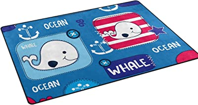 "Mydaily Cute Whale Anchor Area Rug 3'3"" x 5', Living Room Bedroom Kitchen Decorative Lightweight Foam Nursery Rug Floor Mat"
