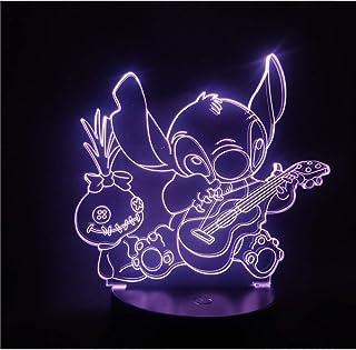 Stitch Tocando la guitarra Lámpara de luz nocturna 3D de dibujos animados para niños Lámpara de mesa LED visual para dormitorio Cambio de colores para regalo de Navidad Ilusión Navidad