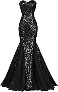 Monalia Women's Spaghetti Straps Sequin Evening Prom Dresses Long Mermaid Gowns