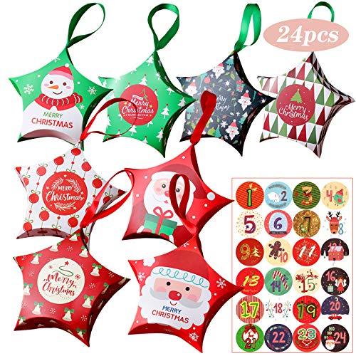 Gxhong 24 Piezas Cajas de Regalo Dulces Navidad Bolsas de Regalo, Calendario de Adviento con 1-24 Números Pegatinas y Cinta, Cajas Papel Caramelo para Decorativa Fiestas