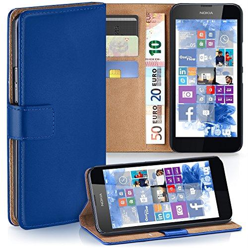 MoEx Premium Book-Case Handytasche kompatibel mit Nokia Lumia 630 | Handyhülle mit Kartenfach und Ständer - 360 Grad Schutz Handy Tasche, Dunkel-Blau