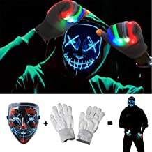 Halloween Scary Mask with LED Gloves Kit, LED Costume Mask EL Wire Light Up Mask for..