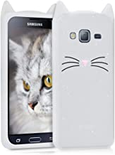 kwmobile Glitter Cat Silicone Case for Samsung Galaxy J3 (2016) DUOS - Soft Silicone Gel Protective Cover with Cute Design