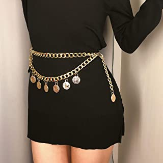 Victray Boho Coins Waist Chains Belly Body Chains Beach Belts Fashion Body Accessories Jewelry for Women and Girls (Gold)