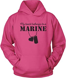 USMC Hoodie - My Heart Belongs to a Marine - Marine USMC Girlfriend Hoodie - US Army Girlfriend - I Love a Marine