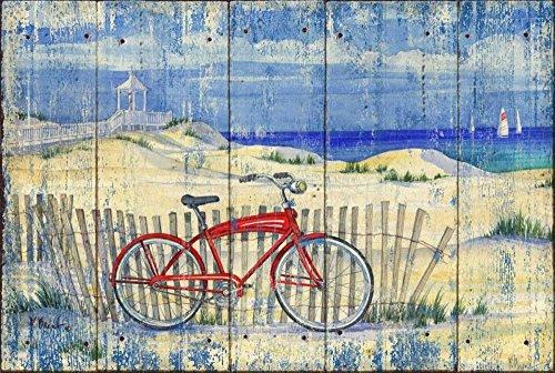 TELA-ARROTOLATA.Brent-Paul-Cm_42_X_61-Red-Beach-Cruiser-blu-rosso-giallo-verde-spiaggia-in-bicicletta-afflitto-costa-di-biciclette-d'epoca-costiera,-Soggetto-Costiero-per-arredo-parete-Stampa-su-tela