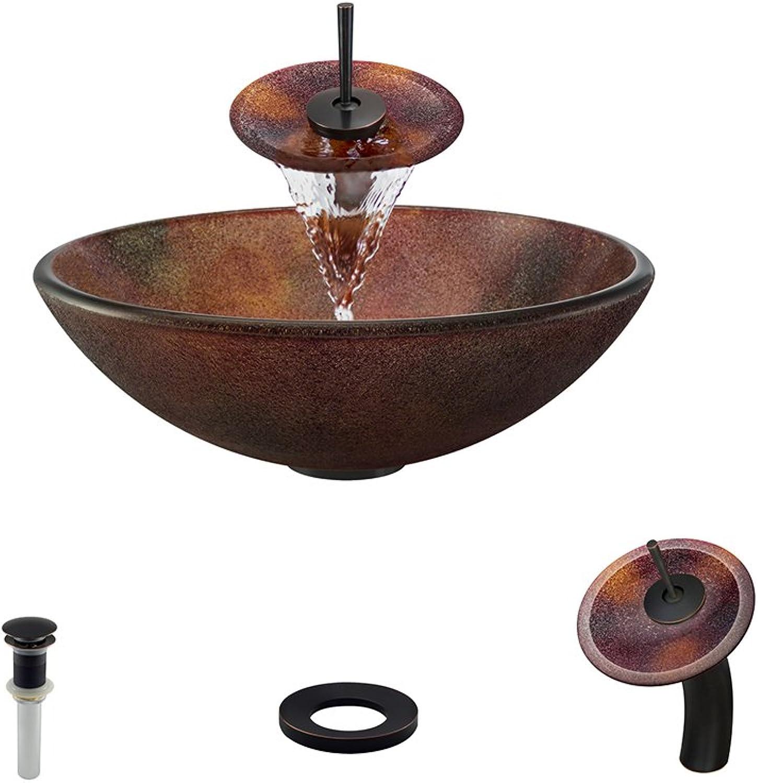 The MR Direct 614 Antique Bronze Waterfall Faucet Bathroom Ensemble