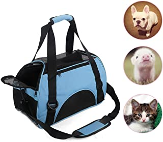 LMM Breathable Portable Pet Carrier Bag for Small Dogs Puppy Cat Small Animals, Airline-Approved Soft Sided Travel Dog Carrier Tote Bag Pink