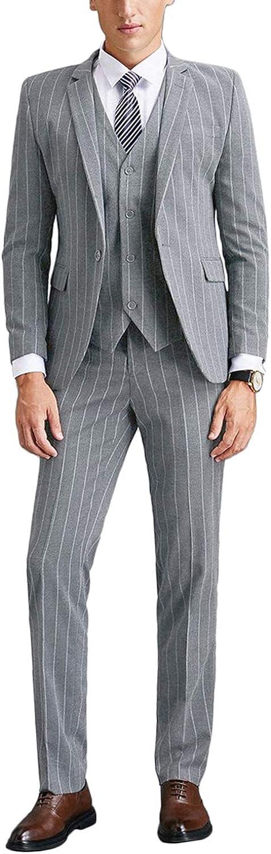 Wemaliyzd Men's Winter 3 Pieces Tweed Grid Suit 4 Buttons Vest Separate Pants