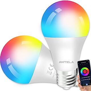 ANTELA Slimme wifi-gloeilamp E27, 9 W led meerkleurige dimbare lamp, app-besturing, compatibel met Alexa, Google Home, gee...