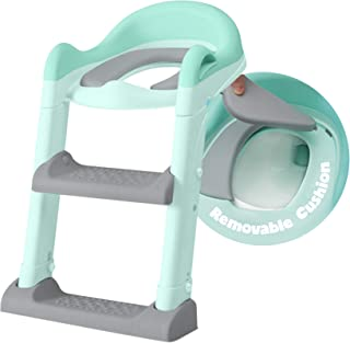 Potty Training Seat with Adjustable Ladder, Kid's Ladder Toilet Seat with Non-Slip Step Stool Ladder, Potty Training Ladde...